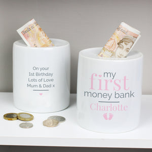 Personalised Pink My First Ceramic Money Box | Bits & Bobbets