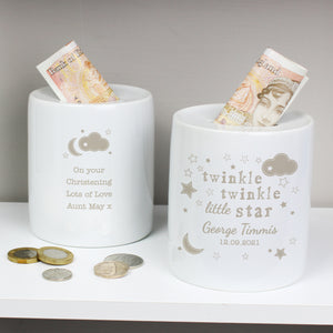 Personalised Twinkle Twinkle Ceramic Money Box | Bits & Bobbets