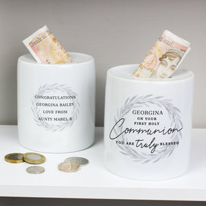 Personalised First Holy Communion Ceramic Money Box | Bits & Bobbets