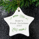 Personalised Christmas Holly Ceramic Star Decoration | Bits & Bobbets