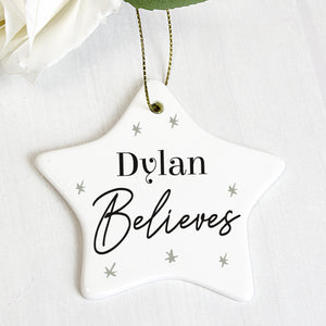 Personalised Believes Ceramic Star Decoration | Bits & Bobbets