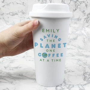 Personalised 'Saving the Planet' Double Walled Travel Mug | Bits & Bobbets