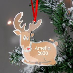 Personalised Rudolph The Red Nosed Reindeer Metal Decoration | Bits & Bobbets