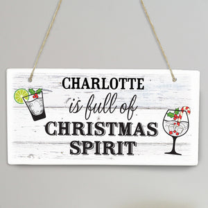 Personalised Christmas Spirit Wooden Sign
