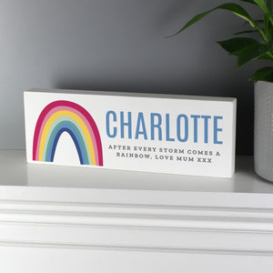 Personalised Rainbow Wooden Block Sign | Bits & Bobbets