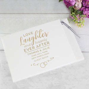 Personalised Happily Ever After Wedding Hardback Guest Book & Pen | Bits & Bobbets