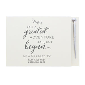 Personalised Greatest Adventure Wedding Hardback Guest Book & Pen | Bits & Bobbets