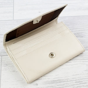 Personalised Classic Cream Leather Purse | Bits & Bobbets