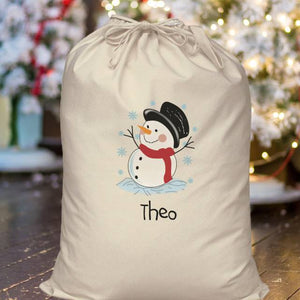 Personalised Snowman Cotton Sack | Bits & Bobbets