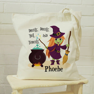 Personalised Toil & Trouble Halloween Treats Tote Bag | Bits & Bobbets