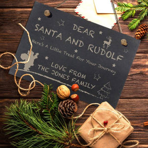 Personalised Treats for Santa Slate Hanging Sign | Bits & Bobbets