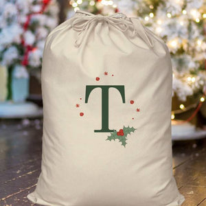 Personalised Holly Initial Cotton Sack | Bits & Bobbets