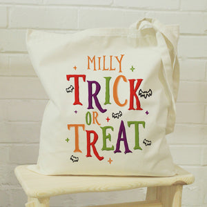 Personalised Trick or Treat Halloween Treats Tote Bag | Bits & Bobbets