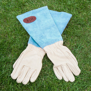 Personalised Blue Leather Gardening Gloves | Bits & Bobbets