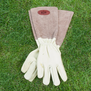 Personalised Brown Leather Gardening Gloves | Bits & Bobbets