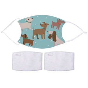 Printed Face Mask - Blue Doggo Pattern Design | Bits & Bobbets