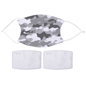 Printed Face Mask - Grey Tones Camo Design | Bits & Bobbets