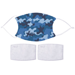 Printed Face Mask - Blue Camo Design | Bits & Bobbets