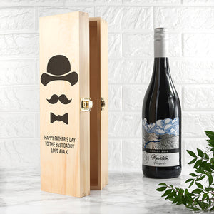Personalised Gentleman Dad's Wine Box | Bits & Bobbets