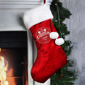 Personalised Christmas Wishes Luxury Red Stocking | Bits & Bobbets