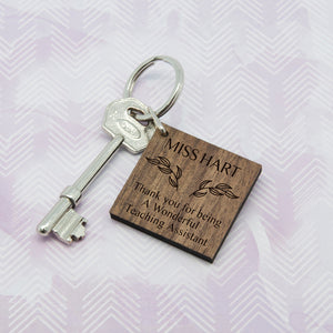 Personalised Thank You Keyring for Teaching Assistant | Bits & Bobbets