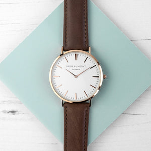 Men's Modern Vintage Personalised Leather Watch | Bits & Bobbets