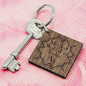 Personalised A+ Teacher Square Keyring | Bits & Bobbets