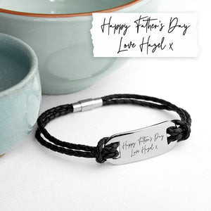 Personalised Handwriting Mens Black Leather Bracelet | Bits & Bobbets
