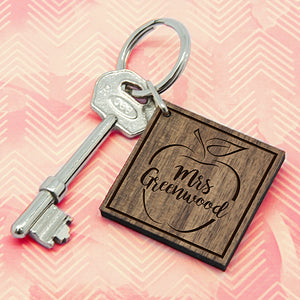 Personalised Teacher's Apple Square Keyring | Bits & Bobbets
