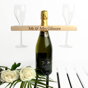 Personalised Welsh Ash Wooden Champagne Holder | Bits & Bobbets