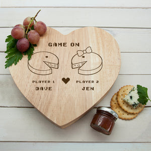 Retro 'Game On' Couples Heart Cheese Board