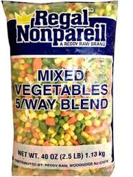 Frozen Mixed Vegetables (corn, peas, carrots and green beans)  2.5lb