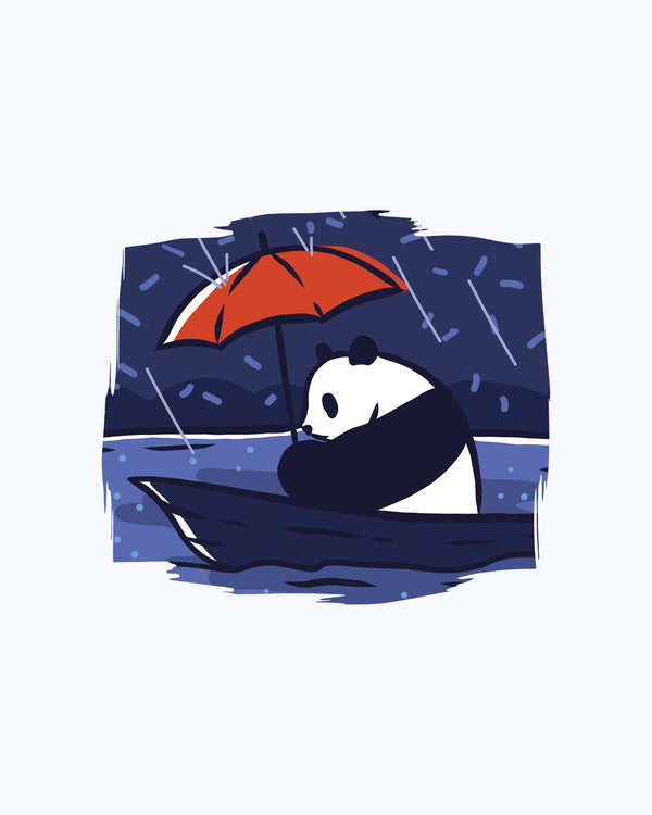 T-shirt Lonely Panda Under The Rain