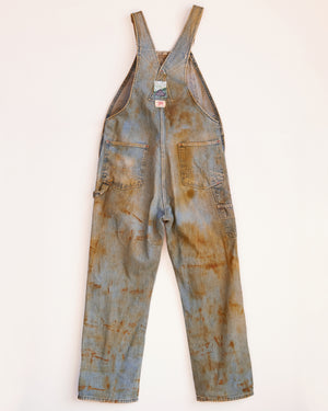 WITH LOVE AND LIGHT DENIM RUST DYED OVERALLS - L