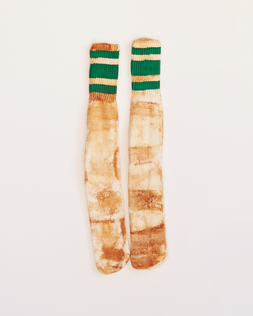 TRAIN YARD RUST DYED GREEN STRIPE SOCKS - ONESIZE