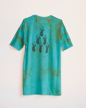 CRYSTAL SHANK RUST DYED PYRAMID T-SHIRT DRESS - ONESIZE