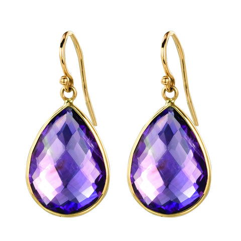 Purple Amethyst Pear Shape Earrings