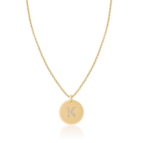 Diamond Letter Disc Bale Necklace