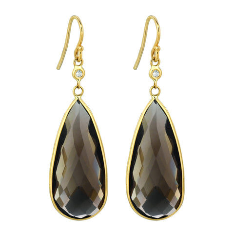 Smokey Topaz Pear Shape Earrings