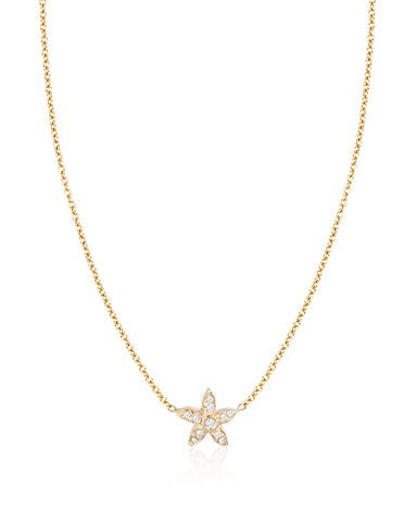 Small Diamond Starfish Necklace