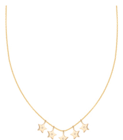 Five Dangle Stars and Diamonds Necklace