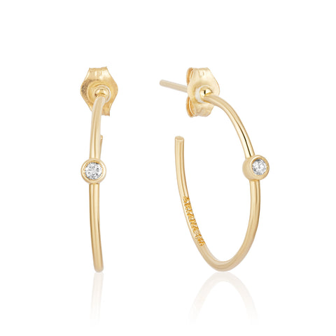 Yellow Gold Small Hoops with Diamonds