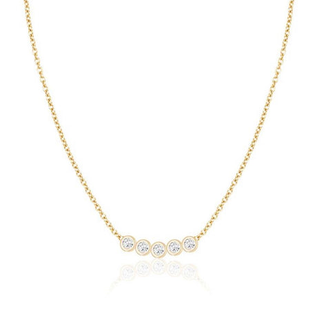 Five Horizontal Diamonds Necklace