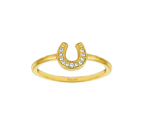 Large Diamond Horseshoe Ring