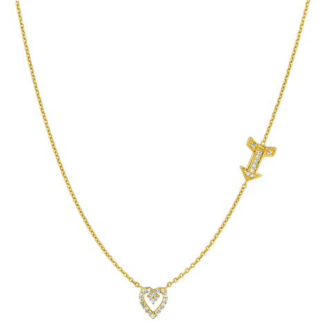 Diamond Open Heart and Arrow Necklace