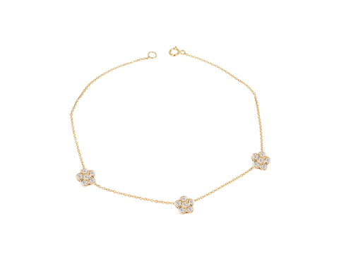 Three Diamond Flowers  Bracelet