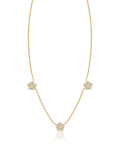 Three Small Diamond Flowers Necklace