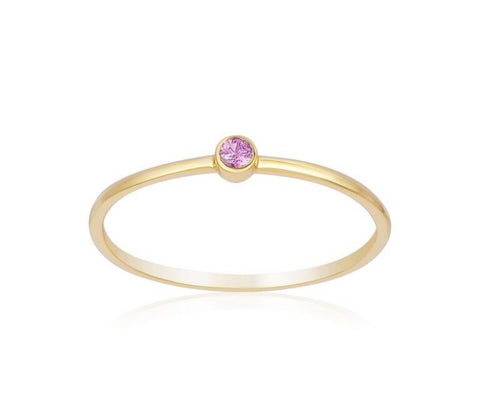Yellow Gold Single Pink Sapphire Ring