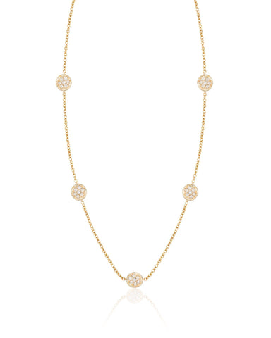 Five Diamond Discs Necklace