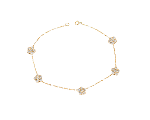 Five Diamond Flowers  Bracelet